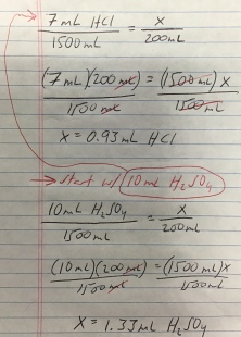 Calculating HCl and H2SO4